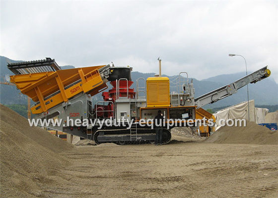 الصين Mobile impact Crusher / Stone Crusher Machine with Two Spindle Car Body المزود