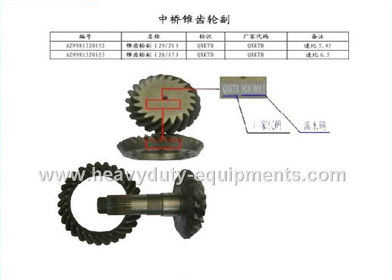 330×320 mm Construction Equipment Spare Parts Rear Pinion Gear AZ9981320157 / 58