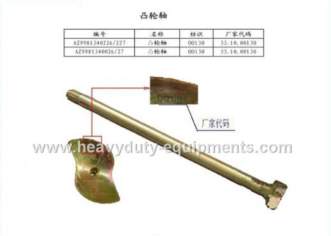 Industrial Construction Machine Parts Left / Right Brake Camshaft 199100440001 / 2